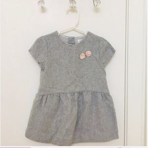 Zara Baby Girl Grey Wool Sparkle Dress 2/3 T